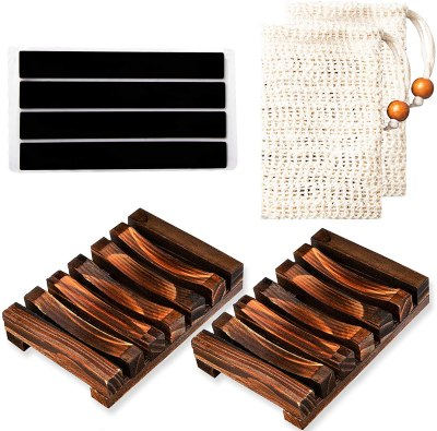 Amazon: Bamboo Soap Dish 4 Pcs Set for $6.32