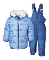 Zulily: Forever Blue Dino Puffer Coat & Forever Blue Bib Pants For $19.99 Reg.$60.00