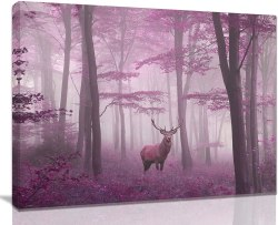 Amazon: Deer in Misty Pink Trees Forest Picture for only $5.56 (Reg: $13.90)