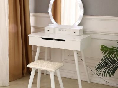 Walmart: Vanity Set with Round Lighted Mirror Set, Just $135.99 (Reg $300.99)
