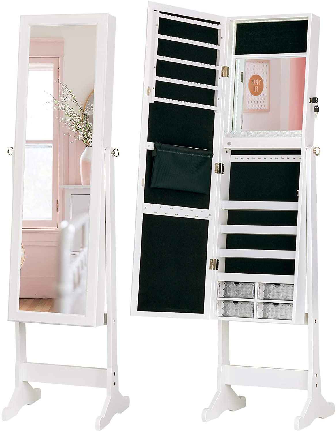 Amazon: LED Light Jewelry Cabinet Standing Mirror Makeup Lockable Armoire, Just $109.7 (Reg $159.90) after code and coupon!