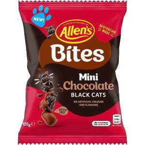 Allens Bites Mini Chocolate Black Cats Lollies Bag 120g