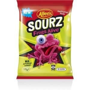 Allens Frogs Alive Sour Lollies Bag 160g