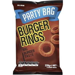 Burger Rings Chips Snacks Party Size Bag 220g