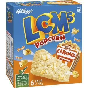 Kelloggs LCMs Caramel Popcorn Snack Cereal Bars 6 Pack