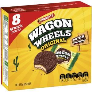 Arnotts Wagon Wheels Original Chocolate Biscuits Mini 8 Snack Packs 190g