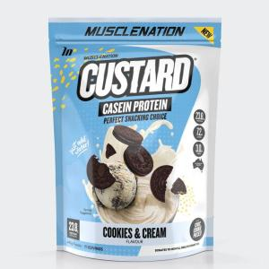Muscle Nation Custard Casein Protein Powder Cookies and Cream 440g