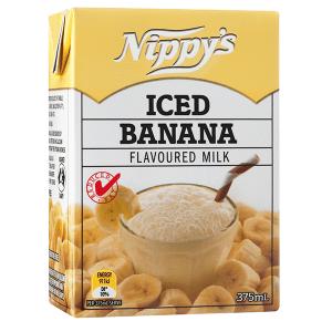 Nippys Iced Banana Flavoured Milk Carton 375ml X 12 Cartons