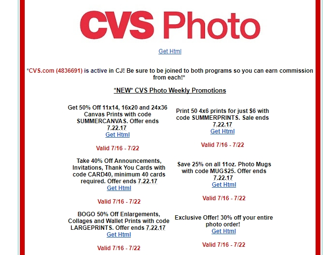 20 Off CVS Photo Coupon Code  2017 CVS Photo Code