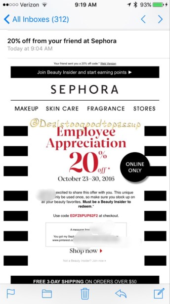 sephora-employee-appreciation-code