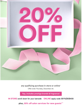 Ulta 20% Off Prestige Coupons 2020 December
