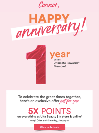 Ulta Anniversary 5x Points 2020 Offer