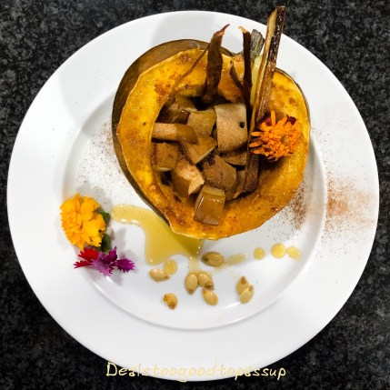 Acorn Squash filled with Roasted Pears and Crispy Leeks Review RawSpiceBar