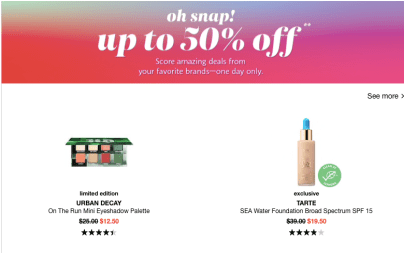 Sephora Snap Sale 2020 March 28th