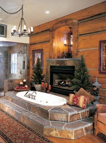 Log Home Bathrooms with Fireplaces
