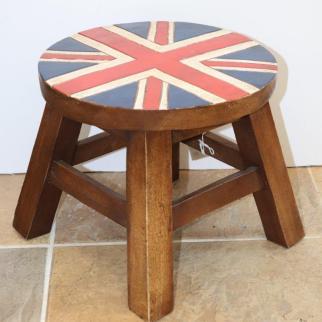 Union Jack Stool - H26cm x W30cm x D30cm