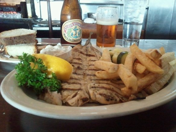 Mesquite grilled catch of the day Friday lunch special (trout). Photo by The Jab.