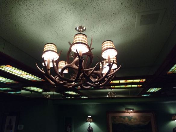 antler chandelier in Northern Pacific Room, Pacific Dining Car