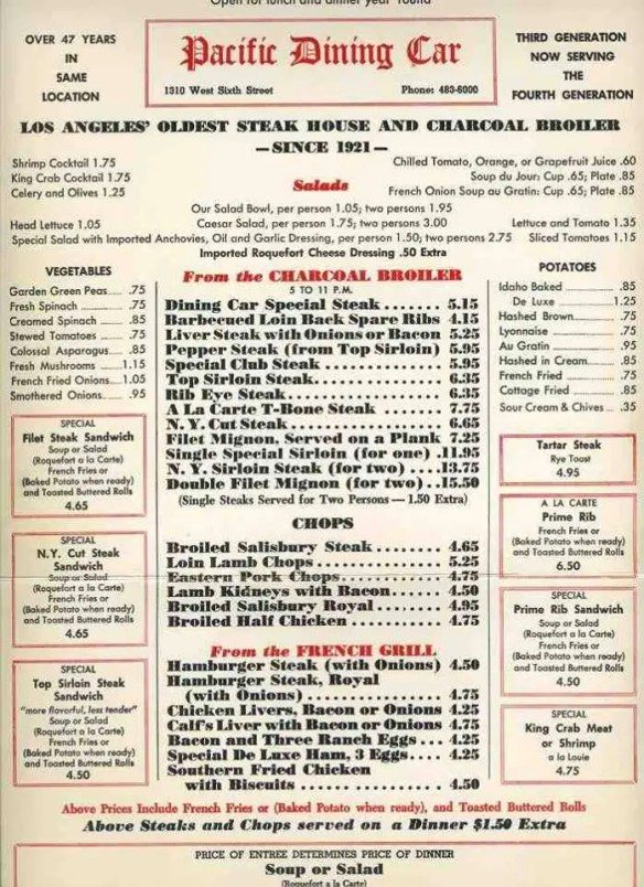 Pacific Dining Car 1968 menu