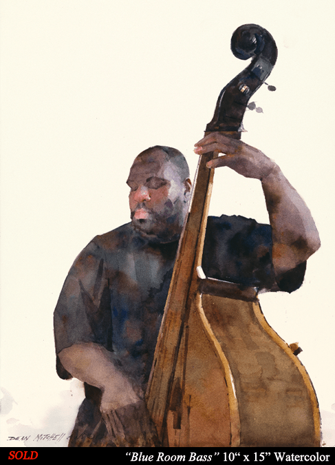 "Blue Room Bass 10"" x 15"" Watercolor"