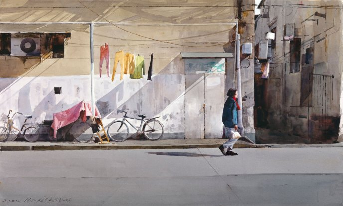 "Shanghai Neighborhood watercolor 19"" x 30"""