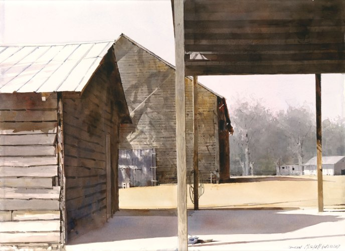 """""""Tobacco Barn Shadows""""  22""""x 30"""" Watercolor"""