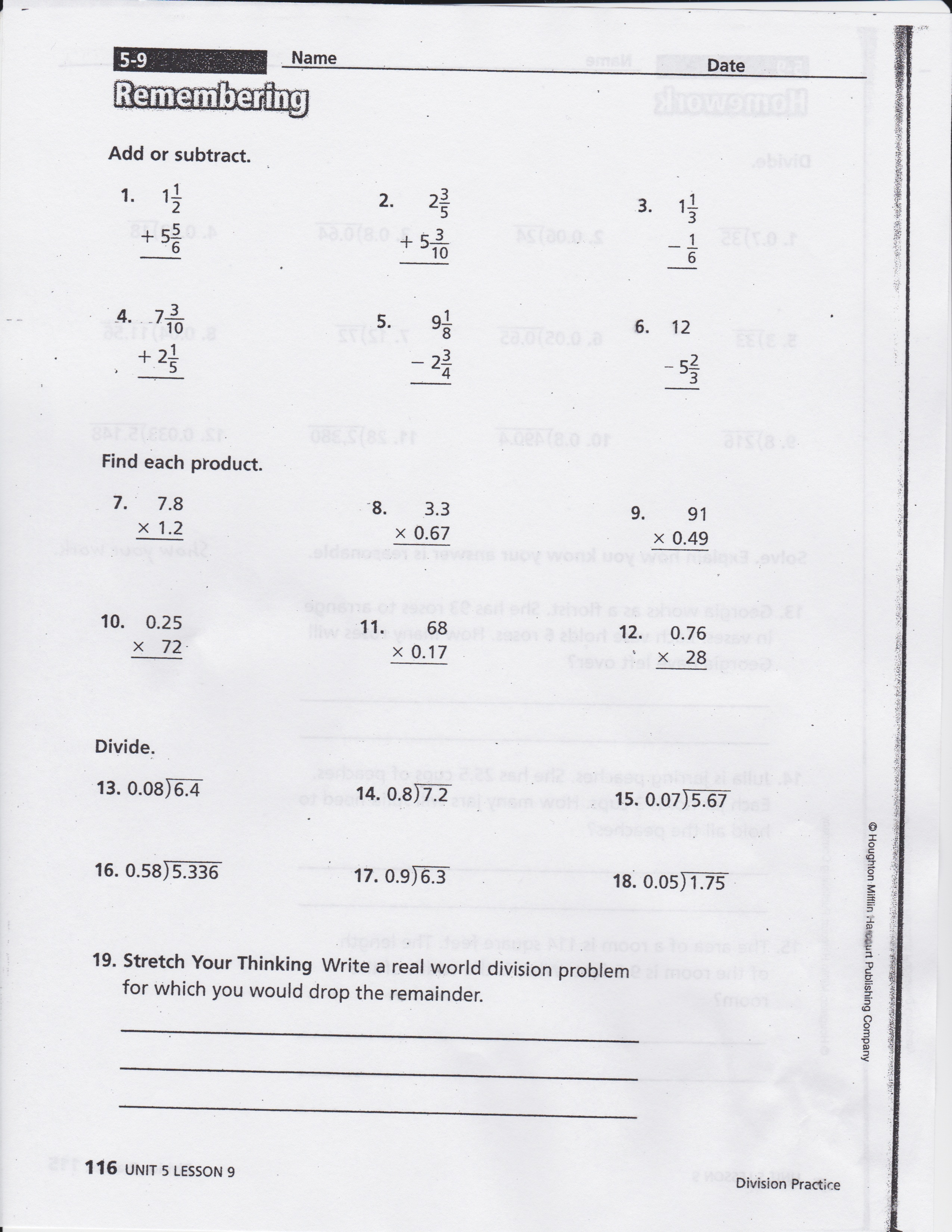 Worksheet Math Expressions Grade Homework And Remembering