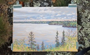 West Hawk Lake, Manitoba, pastel by D.T. Reeves, photographed on location