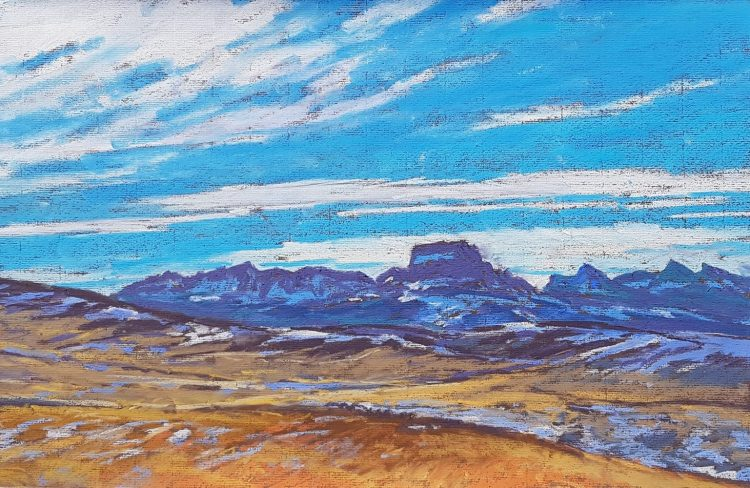 Chief Mountain, pastel by D.T. Reeves