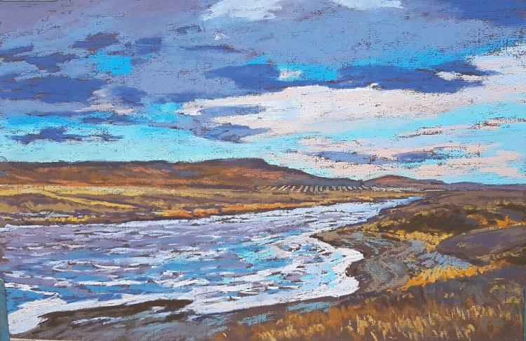 Pine Coulee Reservoir, pastel by Dean Tatam Reeves