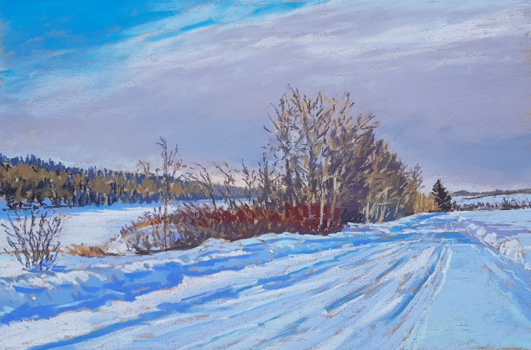 Victoria Trail in midwinter, pastel by D.T. Reeves