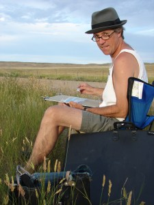 Artist Dean Tatam Reeves working with pastels on location in southeastern Alberta