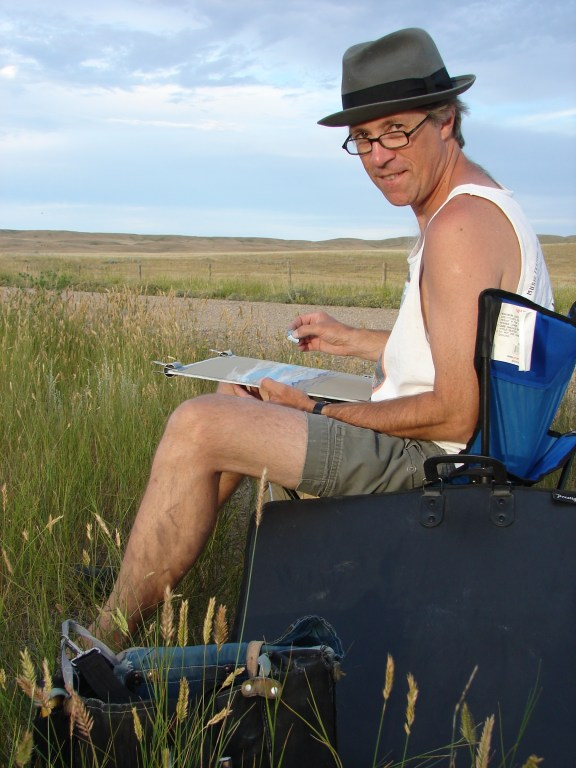 Artist Dean Tatam Reeves painting on location in Southern Alberta
