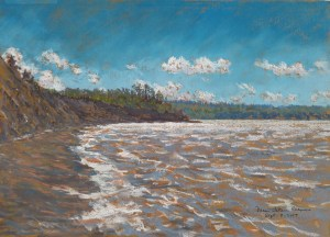 Joggins Beach, Nova Scotia at High Tide, pastel by D.T. Reeves