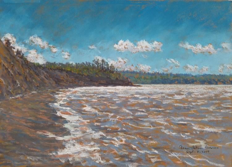 Joggins Beach, Nova Scotia at High Tide, pastel by D.T. Reeves