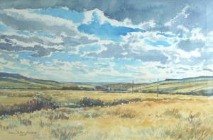 Ranch near Medicine Hat, watercolour by D.T.Reeves