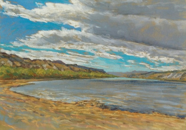 River near Bindloss, pastel on paper by D.T. Reeves