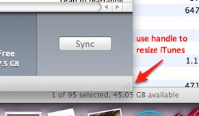 resize iTunes