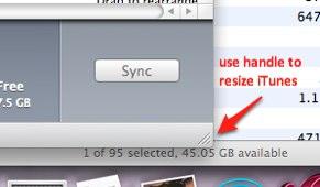 resize iTunes