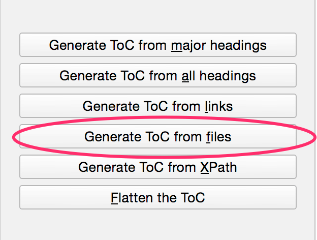 Generate ToC from files