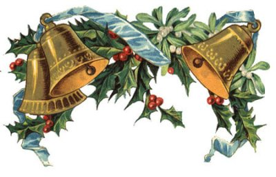 VIntage Bells and Holly free clipart