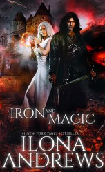 A man dressed all in black and carrying a sword with long dark hair stands before a castle. Just behind him and to the left is a woman all in white with long white hair, weilding some kind of magic - there is a magic sphere between her hands