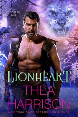 Beefy, muscular, older guy with short dark hair and salt-and-pepper stubble, wearing an open leather vest and no shirt. In the background on the top right is the face of a white lion, snarling.