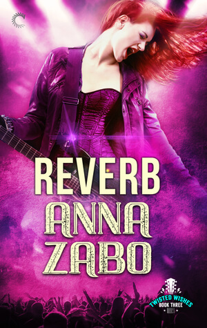 Pretty and tall woman with long red hair wearing a corset and a leather jacket, rocking out with her guitar, the cover is washed in pink/purple.