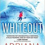 the back of a good looking white guy with his head turned to the right which is faded out and blue so that his coat looks like an Antarctic scene as well and a much smaller picture of a dark haired woman in a red coat running away through the snow