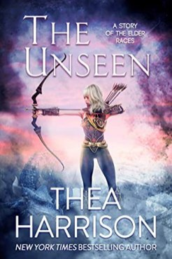 side view of a pretty white woman with white blond hair wearing blue/purple leggings and armour which kind of looks like a corset, wearing a quiver of arrows over her shoulder and drawing a longbow