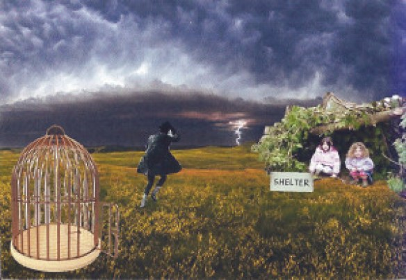 Collage depicting shelter