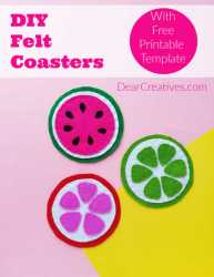 coasters diy felt template fruit watermelon printable dearcreatives unicorn
