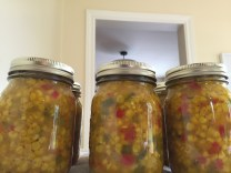 Freshly canned corn relish.