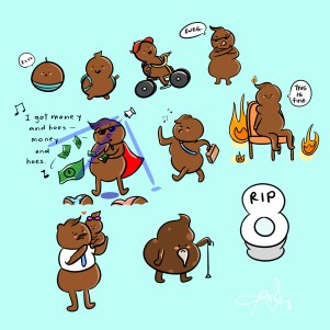 This is a drawing of a turd (poo) evolution.